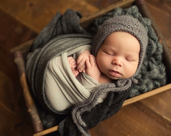 Alpaca Diamond bonnet- Newborn Size- Photography Prop- YOU choose the color!