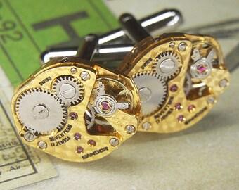 Steampunk Cufflinks Cuff Links - TORCH SOLDERED - Rare Gold SANDOZ Watch Movements w Swirled Surface Pattern - Wedding Anniversary Gift
