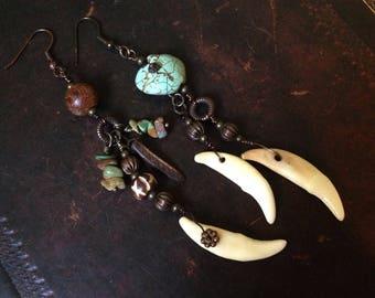 Ethnic Earrings, shamanic, Tribal, Turquoise, Coyote Tooth