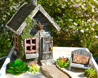 Fairy Garden Kit ~ Starter Set ~ Fairy Shed ~ Bench ~ Pillow ~ Walkway ~