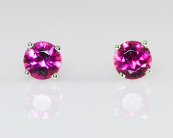 Pink Tourmaline 14K Solid White Gold Stud Earrings 5mm
