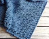 Blue Baby Blanket, New Baby, Boy Baby Blanket, Baby Afghan, Nursery Blanket, Blue Knit Blanket, Crib Blanket, Stroller Blanket