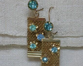 1950s Earrings. Blue Rhinestone & Mesh Dangles. Day/Night. December Birthstone