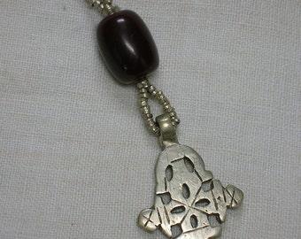 Ethiopian Coptic Cross with Faux Amber Bead, Tribal Boho Pendant