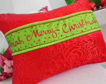 Christmas Pillow - Merry Christmas Pillow - Christmas Ribbon Pillow - Red and Green Pillow - Holiday Pillow - 12 x 16 Inch Pillow