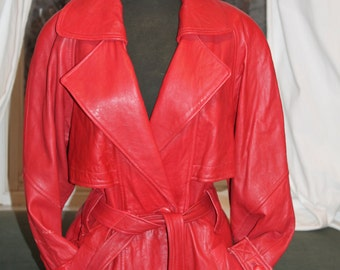 Vtg. soft RED leather women's coat super 1980s 90s vibe size small/medium belted Coat