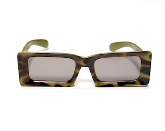 vintage 60s mod sunglasses olive green tortoiseshell plastic square rectangle Italy 1960 eyewear green sunglasses camouflage