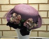 Vintage Mother Hat Ladies Race Day Hat Cocktail Hat Mother of Bride Vintage Wedding Hat Ladies Fashion Hat Vintage Purple Hat Lavender