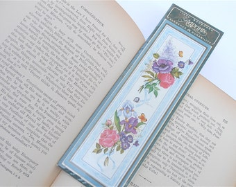 Vintage Purple Orchid Bookmark Pink Rose Artprint Lavender Flower Bloom Bouquet Fine Art Artprint Navina Yellow Butterfly Garden Blue Ribbon