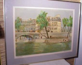Vintage Roger FORISSIER (1924-2003) signed lithograph Art Print Cityscape