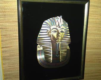 STUNNING Vintage Framed Egyptian Revival Pharaoh King Print by KAFKA USA
