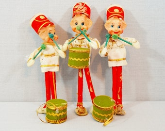 Vintage Christmas Drummer Elves Set of 3 Three Damaged Red Green Gold White Felt Pixies Salvage Parts Repair Repurpose Craft Supply 1960's
