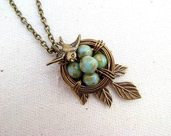 5 egg nest necklace Mother of 5  Bird nest Grandma gift Antique brass necklace Mom of five Vintage egg nest Turquoise green blue eggs Leaf