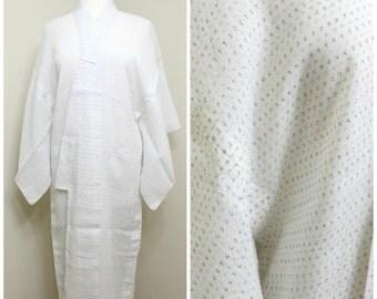 Kagasuri Hemp Linen. Japanese Vintage Kimono. Woven Ikat Kasuri Robe. White Black Fine Weave. (Ref: 1578)