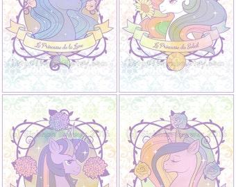 Princesses of Equestria - My Little Pony A5 Art Print Set - SALE