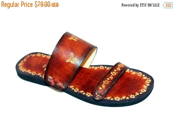XMAS SALE Unique Style Jolly Flowers And Butterflies Handmade Leather Sandals - Paradise