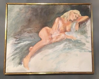 Modernist Oil Painting of Nude Woman in Repose Original Vintage 1970s 70s