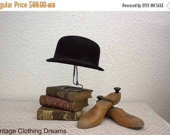 "CLOSING SHOP SALE Vintage Bowler Hat Derby Hard Crown Black Hat with Banded Brim Hard Top Bowler Hat Equestrian 21.5"" Size 3-49"