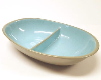 "Vintage Mid Century Harkerware ""Blue Mist"" Gray/Grey and Aqua Retro  Divided Serving Dish"