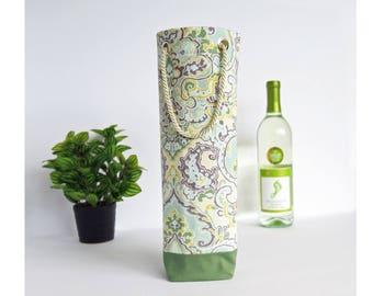Bottle Gift Tote - Multi Colored / Green - Wine, Whiskey, Craft Beer, 750ml Bottle Bag