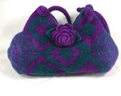 Felted Wool Purse Teal and Purple Fiber Art Granny Square Handbag with Rose Brooch crochet purse