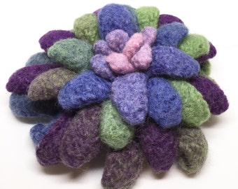 Felted Wool Dahlia Flower brooch in Shades of purples with green, blue and pink