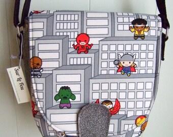 Kawaii Avengers Saddle Bag Purse / Cross-body Purse / Geek Chic / Swoon Sandra