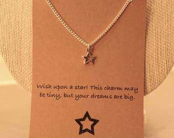 Star Necklace: Tiny Star Wish Necklace, Star, Star Jewelry, Friendship Necklace, Best Friends, Wish Jewelry, Lucky Star