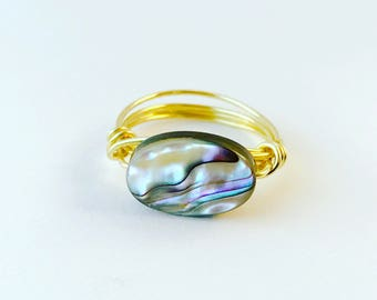 Brass Wire Wrapped Abalone Ring, Abalone Shell Ring, Wire Wrapped Jewelry Size 8