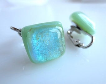 Clip On Dichroic Earrings Mint Green Fused Art Glass