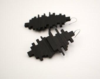 Black Long Plywood geometric earrings