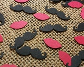 Mustaches and Lips Confetti  200CT- Gender Reveal- Birthday- Baby Shower- Cutout- Custom Colors Available