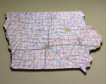 IOWA State Vintage Map Wall Decor (Medium size)