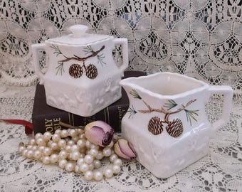 Vintage Japan sugar bowl and creamer, white, pinecones, rustic chic Set