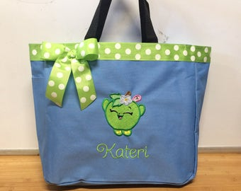 Personalized Girls Shopkins Apple Tote Bag School Beach Toys
