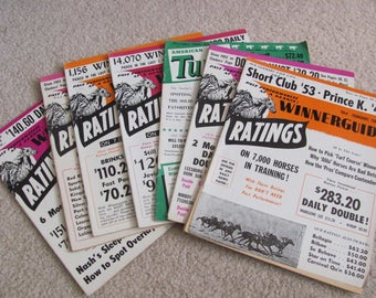 Lot of 7 Vintage Winnerguide Turf Monthly Horse Racing Magazines 1964-66