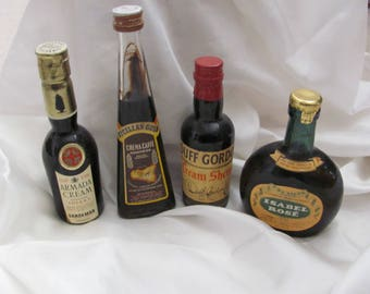 Lot of 4 Vintage Miniature Colored Liquor Wine Bottles Assorted (#03)
