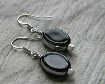 Simple earrings black and silver earrings minimal earrings beaded jewelry drop earrings beaded earrings gift for her