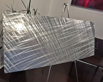 large decor METAL FABRIC HUGE silver art  boardroom office wall sculpture 3D colour light reflect vertical horizontal modern artwork by Lubo