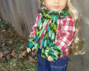 Slouchy Hat scarf and fingerless mittens for American Girl 18 inch dolls