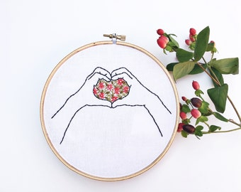 Embroidered wall art hand embroidery hands in a heart full of flowers hoop art home decor gallery wall nursery love