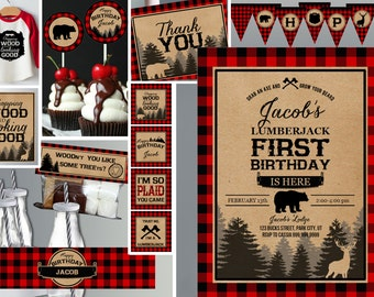 Lumberjack first birthday - Buffalo Plaid - Lumberjack birthday - Printable Invite and Decor Collection - Instant Download