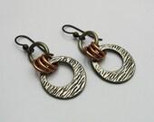 Mixed Metal Earrings, Mixed Metal Jewelry, Dangle Earrings, Silver and Copper, Copper and Silver, Rustic Earrings, Black Niobium Ear Wire