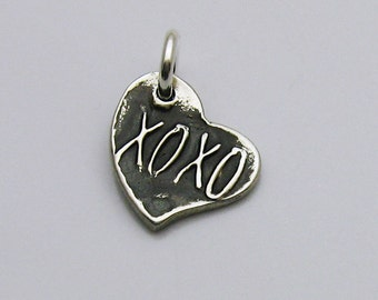 Sterling Silver XOXO Charm, Sterling Silver Heart Charm, Tiny Heart Charm, Tiny XOXO Charm, XOXO Heart Charm, Hugs Kisses, Kisses and Hugs