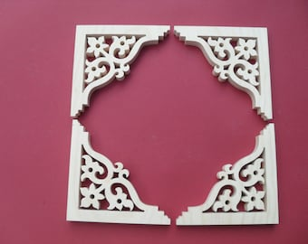"Six ( 6)  Victorian Gingerbread Screen Door Trim/ Brackets / Shelf Brackets 6 1/2"" x 6 1/2"" x 3/4"""