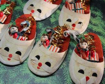1 Vintage Very Kitschy Santa Slipper Ornament