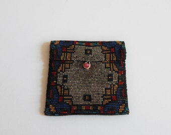 """Antique Deco Glass Beaded Coin Jewelry Purse 2.25"""" square"""