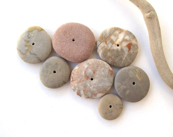 Beach Stone Donut Beads Mediterranean Pebble Spacers Center Drilled Natural Stones Diy Jewelry River Stone Beads SMOOTH WHEELS 15-25 mm