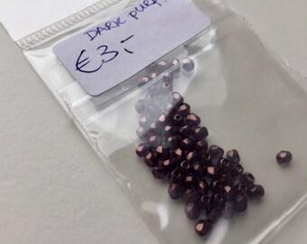 Dark purple, fire polished glass beads, 3 mm