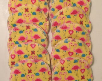 Nursing pads/Facial Wipes 12 sets (24 total) made with 4 layers of 100% cottlon flannel Cute Flamingo Pattern